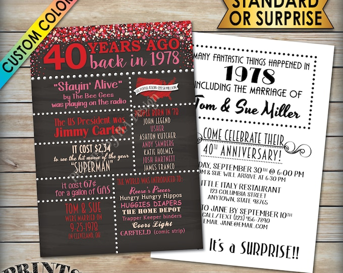 """40th Anniversary Invitation, Married in 1978 Flashback 40 Years Ago 1978 Invite, Chalkboard Style PRITNABLE 5x7"""" 40th Anniversary Invite"""