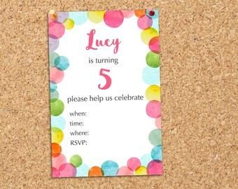 Custom Birthday Invitation | Digital Invite | Party Invitation | Confetti Invite | Custom Calligraphy Invite | Typography Invitation