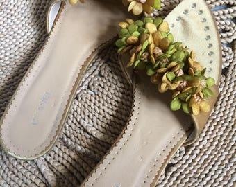 Chanel Mules clogs Sandals fabric flowers romantic Vintage new 37 US 7 UK4