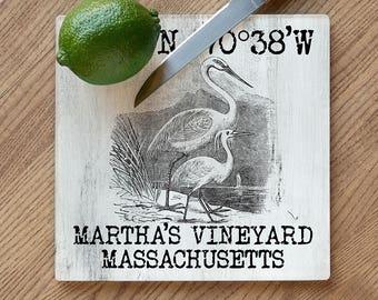 Custom Coordinates Vintage Egrets Cutting Board, Latitude Longitude Cutting Board