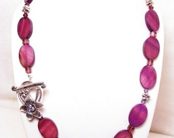 Mother of Pearl Necklace with Purple Crystazzi and Swarovski Crystals