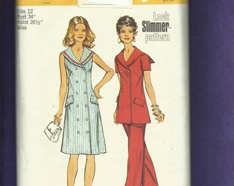 1973  Simplicity 5566 Sailor Collar Doubled Breasted Dress & Tunic  Size 12