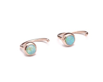 Dainty Opal Hug Hoops, Sterling Silver, Gold Plated, Hugging Earrings, Open Hoop, Minimalist Jewelry, Lunaijewelry  Gift for Mom, EAR039O03