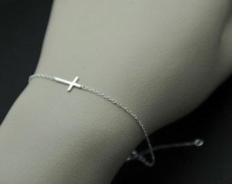 All Sterling Silver - Sideways Cross Bracelet, Celebrity inspired bracelet, trendy bracelet