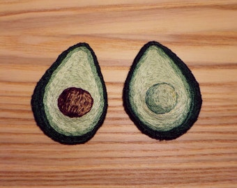 Avocado sew on hand embroidered patch set