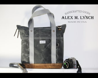 EXTRA LARGE zippered tote bag - heavy waxed canvas everyday tote - jumbo bag - laptop bag - made in USA 010037.1