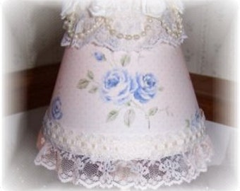 New Lt Blue Roses Cottage Chic Victorian Mini Lamp Shade Pearls and Lace Elegance