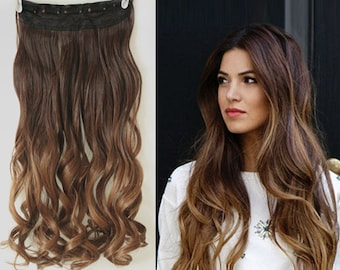 One Piece Dip dye Clip in Hair extensions Ombre Chocolate brown to dark blonde