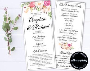 Tea Length Wedding Program Template - Floral Ceremony program - Instant Download DIY Wedding Programs - Floral Tea Length Printable Programs
