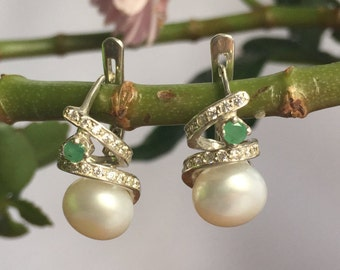 Vintage Pearl, Vintage Emerald, Birthstone Earrings, Vintage Earrings, Genuine Pearl, Genuine Emerald, Jewelry Set
