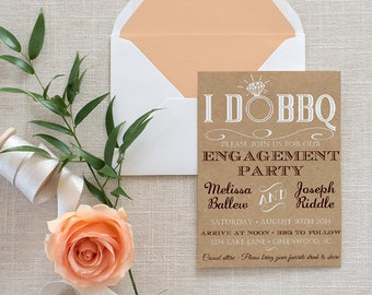I DO BBQ Engagement Party Invitation Template - Kraft Wedding Shower Template - Rustic Wedding Invitation - Kraft Bridal Shower Download PDF