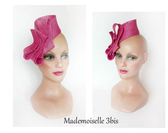 Fascinator pink hat, minimalist Fascinator, hat woman ceremony Pillbox bridesmaid