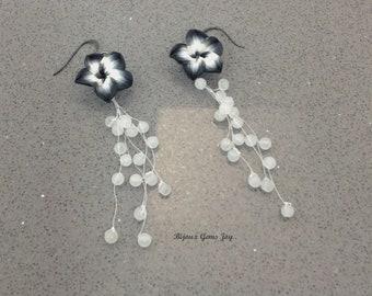 Chroma Earrings: Polymer Clay Plumeria, Snow Quartz, Gunmetal