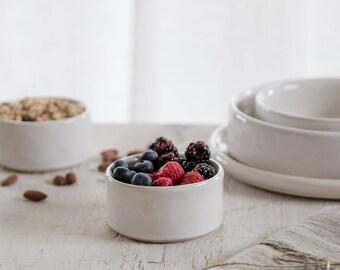 Tiny ceramic bowl - Breakfast bowl - White pottery