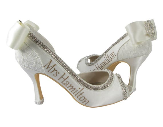 new amp; rhinestone White Heeled lettering shimmer satin and your name bling High cut Red last with bows Shoes in Bride Emerald ZdWwqdfr8x