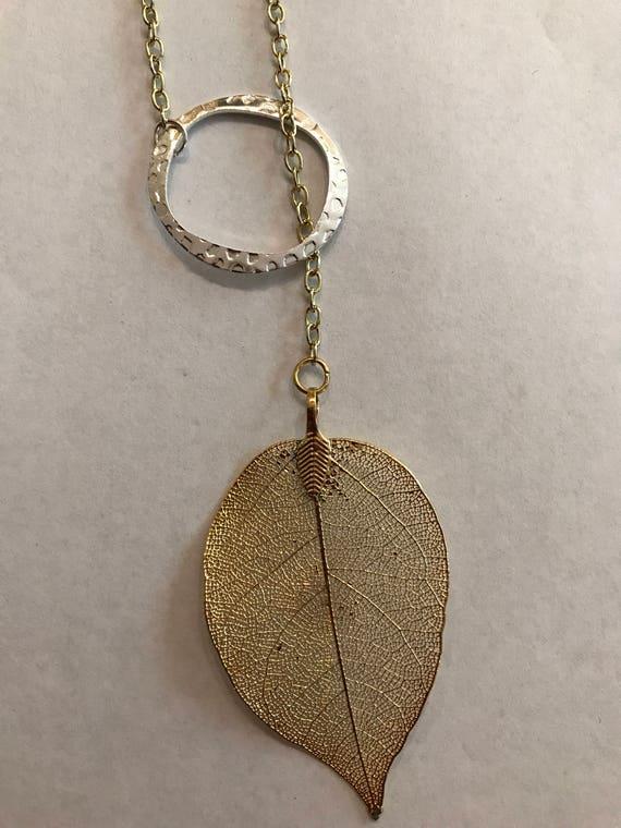 Gold plated leaf lariat gold leaf lariat real leaf necklace gold plated leaf lariat gold leaf lariat real leaf necklace nature jewelry gold plated leaf pendant electroplated leaf aloadofball Image collections