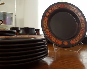 8 Kiln Craft (Kilncraft) Hermes Bread and Butter Plates - Ironstone - English Ceramics - 1970s Dinnerware