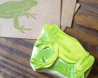Frog Rubber Stamp Hand Carved