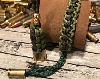 Green Paracord Bracelet and Keychain Set- 9mm Bullet Casing and Gold Skull and 20 GUge Shotgun Shell