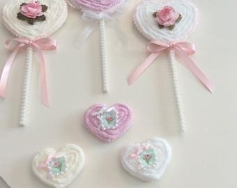 Faux Chenille Heart Lollipops  & Heart  Cookies  set of 6