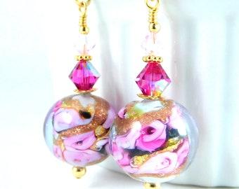 Pink Black Gold Foil Floral Murano Dangle Earrings, Pink Rose Venetian Glass Earrings, Victorian Inspired Earrings, Spring Romantic Jewelry