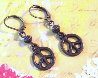 PEACE Earrings / Boho Earrings / Vintage Earrings / Leverback Earrings / Bronze Peace Sign Earrings