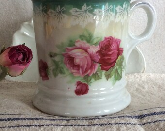 Victorian shaving mug white ironstone rose flowers antique transfer pattern