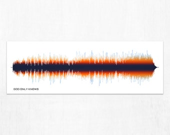 God Only Knows  - Lyrics Rock Song Sound Wave Wall Art Print, Gift Idea for Dad, Music Lovers, Musicians, Men, Women