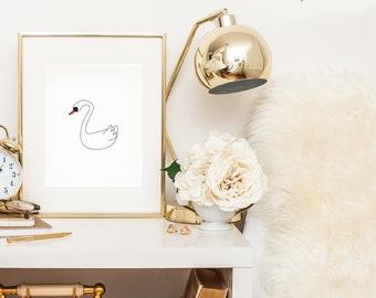 swan art print - swan nursery decor - swan nursery wall art - swan wall art - black swan art - pink swan decor - pink swan artwork