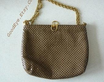 Vintage WHITING DAVIS Metal Mesh Shoulder Bag / Chain Khaki Tan Aluminum Purse/ Medium size 1980s Top Handle Handbag