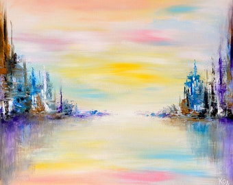 Pink Abstract Decor - Abstract Landscape Wall Art, Abstract Water Reflection Art, Abstract Painting, Abstract Horizon Wall Art, Abstract Art