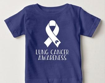 Lung Cancer Awareness T-Shirt - Cancer Awareness T-Shirt - Ribbon Awareness T-Shirt - Hope For a Cure - Cancer T-Shirt - Ribbon with  Lungs