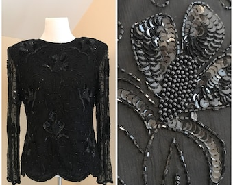 Vintage 80s Sequin Top | Vintage Scalloped Shirt | Sequined Floral Blouse