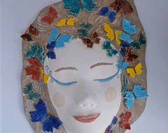 Butterfly lady - ceramic mask - wall hanging