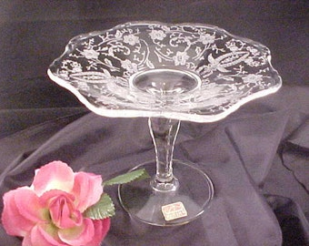 Vintage Viking Glass Prelude Etching on Clear Flared Compote With Scalloped Edges, Mid Century Crystal Glassware, 1950s Elegant Serving