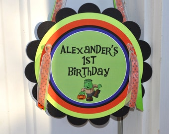 Halloween Birthday Door Sign, 1st Birthday Sign, Halloween Birthday, Halloween Party Decorations, Welcome Sign, Trick or Treat Party