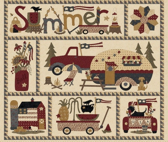 Vintage Campers and Trucks on Parade 35 Inch Panel Summer Fun Camping And Adventures Primitive Folk Vintage Cream. SKU 8860P