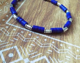 Bracelet elastic, blue, silver, gift, boho, howlite, Bohemian, made with love