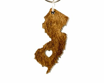 New Jersey Wooden Keychain - NJ State Keychain - Wooden New Jersey Carved Key Ring - Wooden NJ Charm - State of New Jersey Keyring - NJ