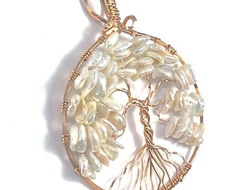 Pearl and Rose Gold Tree of Life Pendant, June Tree of Life Pendant,  Custom Tree of Life Pendant, June Birthstone, Pearl Necklace, Bridal