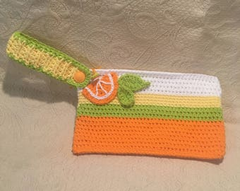 Crochet Orange Wristlet Purse Clutch