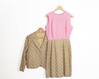 Vintage 60s 70s Pink Polka Dot 2 Piece Set Size M