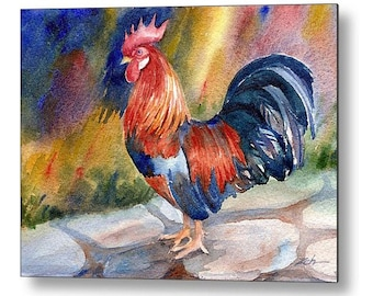 Rooster Decor Chicken Art Print on Wood Farm Animal Printed Wall Art by Janet Zeh Zehland