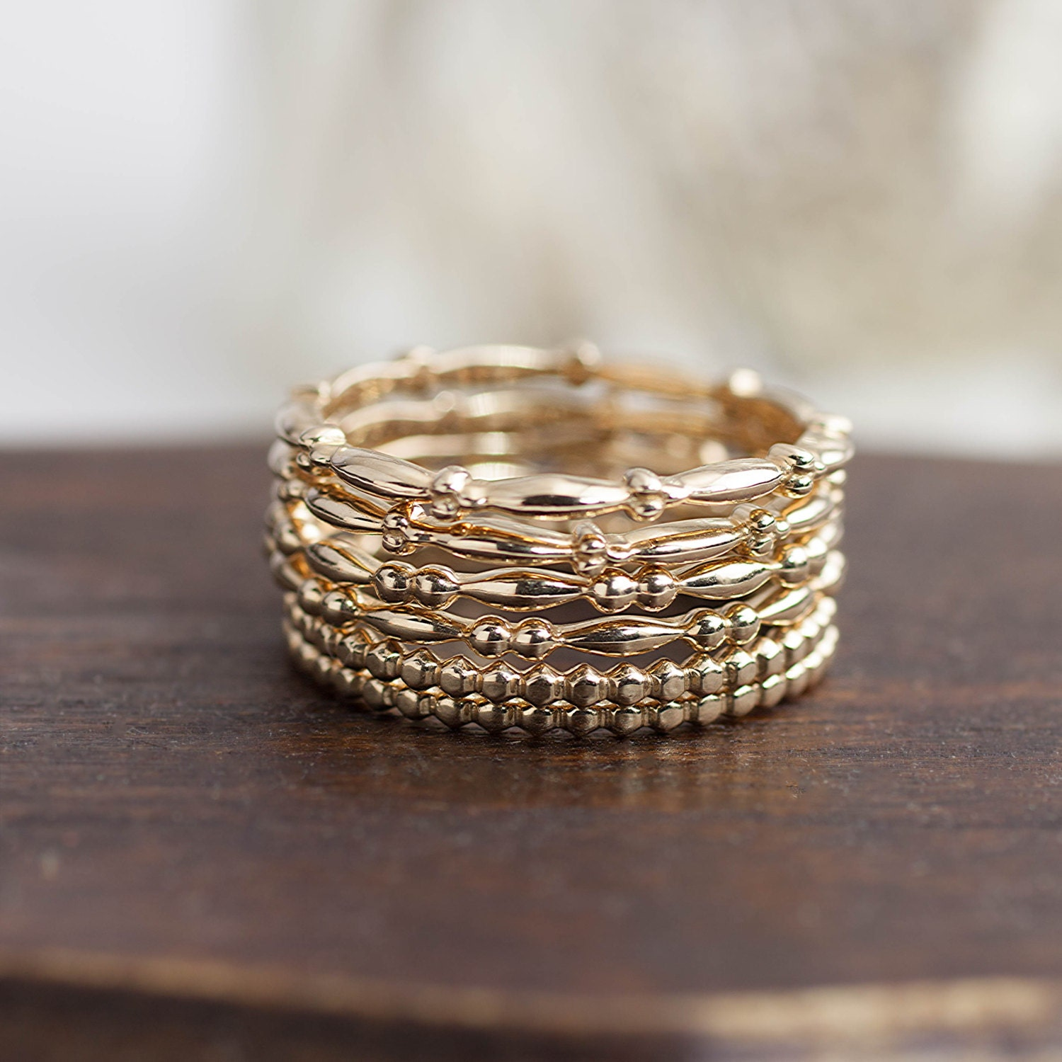 Stacker Bands: 14k Solid Gold Stack Ring Stackable Gold Band Bead Ring