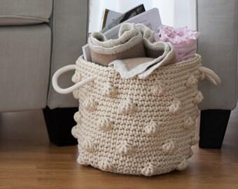 Crochet basket,Rope basket,Storage basket,Nursery basket,Children storage basket, Toys storage,  popcorn basket, polka dots basket