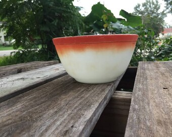 Vintage Pyrex Mixing Bowl with Orange Trim