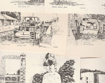 Ontario Canada Note Cards, Set of Eight Different  Pen and Ink drawings by G. Upper, Vintage Travel Note Cards