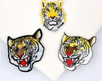 1 Pair ,7*9 cm ,Embroidered Tiger Patches,back patch Small tiger Patch Tiger Clothes Patches Embroidery Animal iron on patches