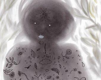 "Original Art: ""Nature Spirit"". Pastel and ink drawing. Creature, shaman, wesen, dreamtime, vision, dream, visionary art, magic, magical"