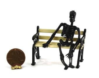 1:24 Scale Black Skeleton Sitting on a Park Bench